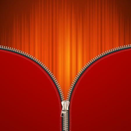 metal fastener: Red background with metallic zipper