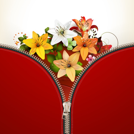 unbuttoned: Metallic zipper with lilies