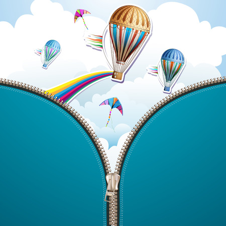 aloft: Sky background and hot air balloon with zipper
