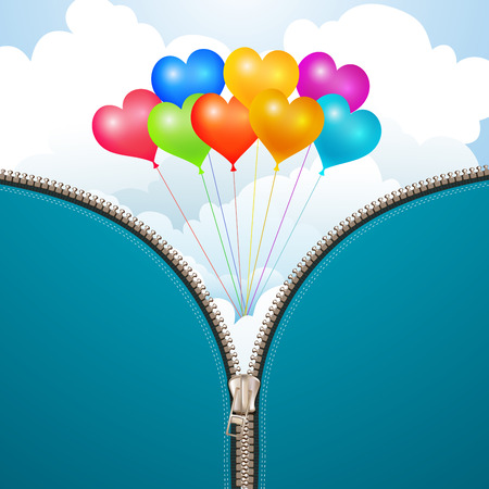 Metallic zipper with sky background and balloons  Vector