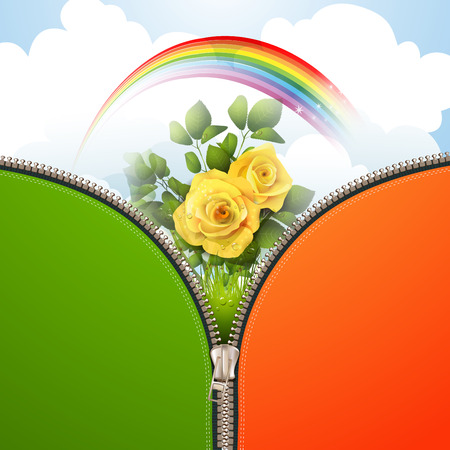 Metallic zipper with nature background and roses Vector