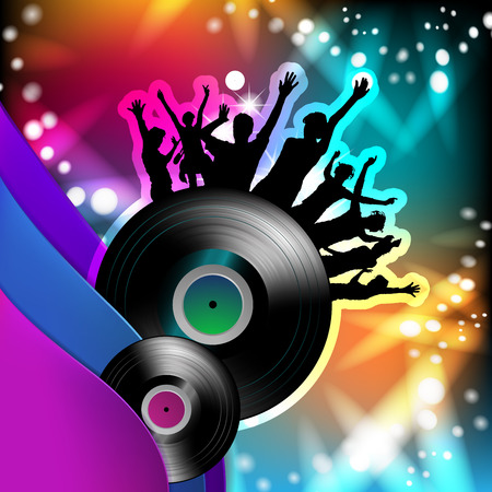 Vinyl record with dancing silhouettes Illustration