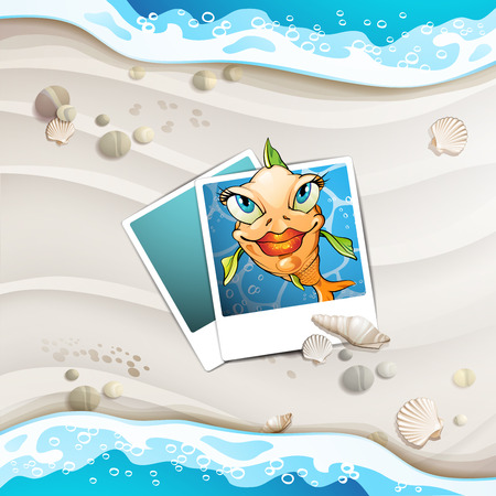 Summer beach with fish and shells  Vector