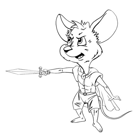Cartoon mouse with a sword  Drawing style black on white  Vector