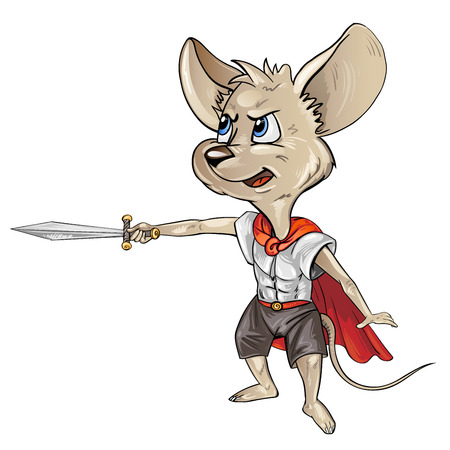 Cartoon mouse with a sword