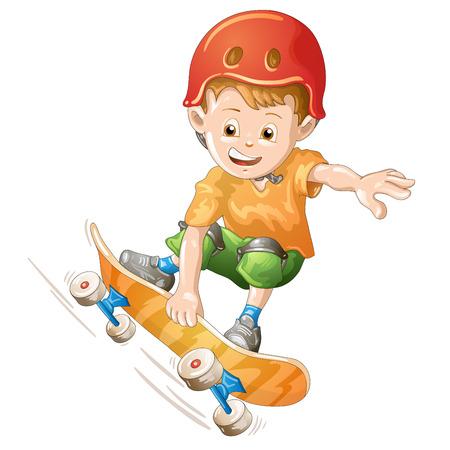 boy skater: Cartoon skater boy flying through the air  Illustration