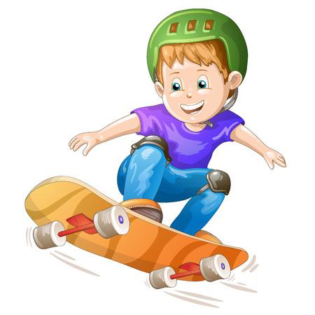skater boy: Cartoon skater boy flying through the air  Illustration