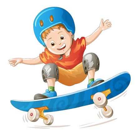 skater: Cartoon skater boy flying through the air Illustration