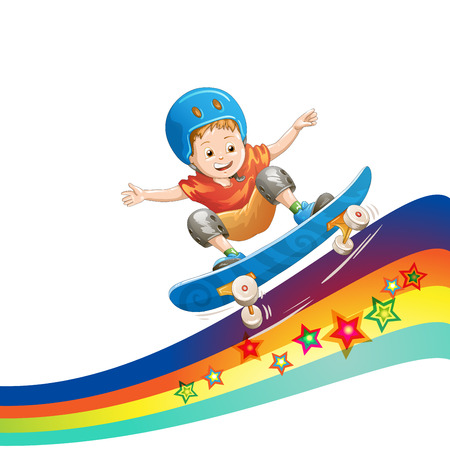 Cartoon schaatser jongen vliegen door de lucht