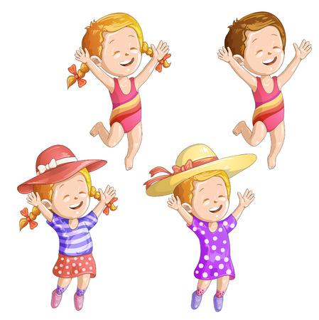 enfant maillot de bain: Filles mignons de bande dessinée avec le chapeau et maillot de bain