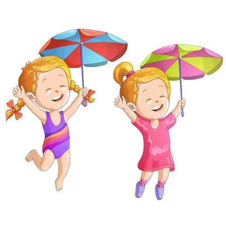 enfant maillot de bain: Filles mignon de bande dessinée avec le parapluie et maillot de bain