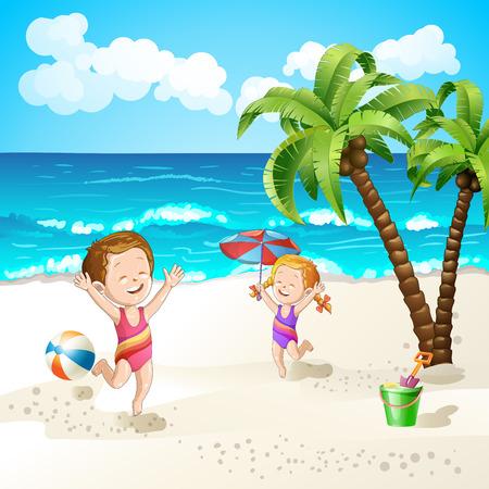 beach boy: Summer beach with cartoon starfish and umbrella