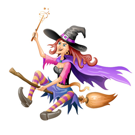 red haired: Red haired witch flying on a broomstick over on white background
