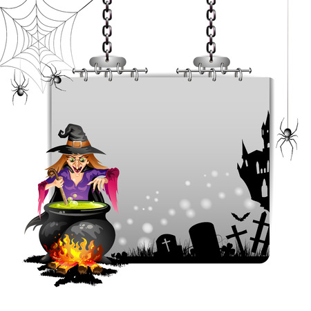 spider cartoon: Banner for Halloween with witch preparing a potion