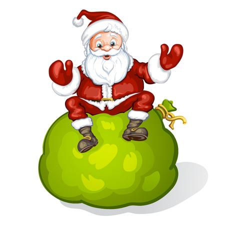 bag cartoon: Cartoon Santa Claus smiling and sitting on bag Illustration