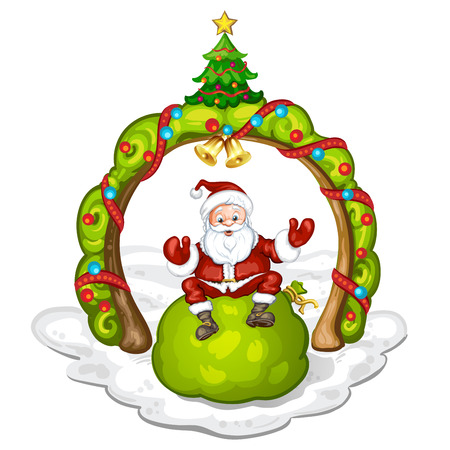 santa sack: Cartoon Santa Claus smiling and sitting on bag Illustration