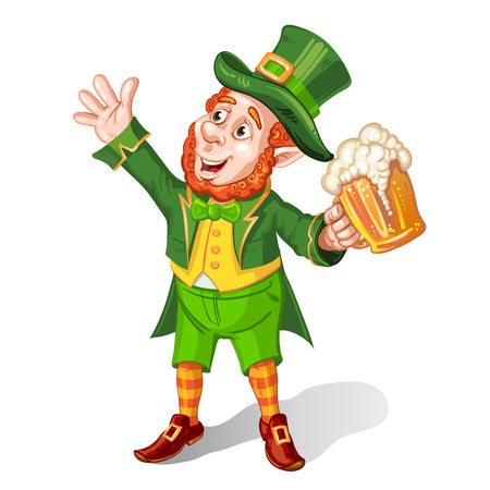 leprechaun: Leprechaun Drinking Beer-St. Patricks Day Cartoon
