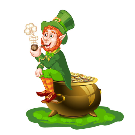 Leprechaun sitting on a pot of gold and holding a pipe