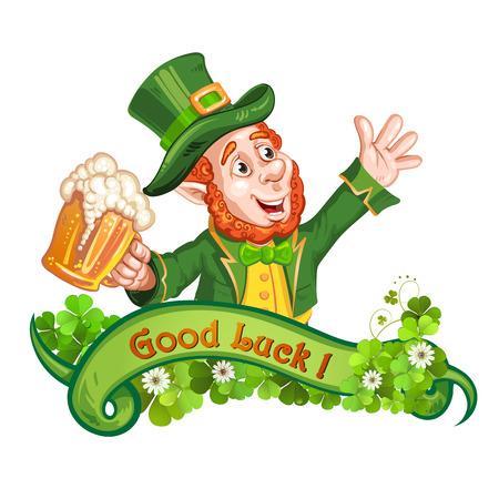drunk cartoon: Leprechaun Drinking Beer-St. Patricks Day Cartoon