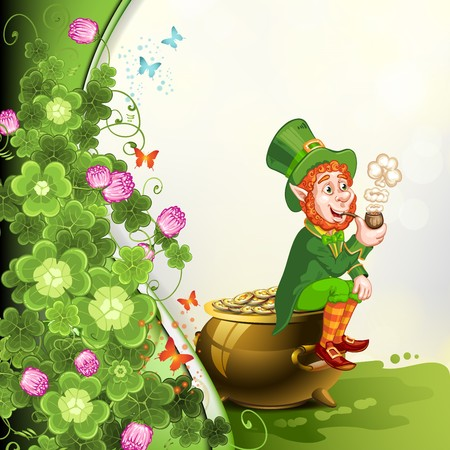 pot of gold: Leprechaun sitting on a pot of gold and holding a pipe