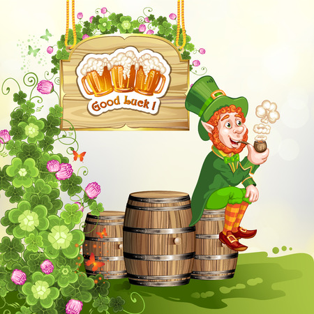 irish beer: Leprechaun sitting on barrels and holding a pipe