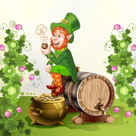 Leprechaun sitting on barrel and holding a pipe Illustration