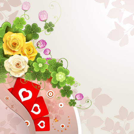 valentine s: Valentine s day card with roses, hearts Illustration