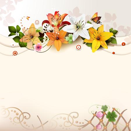 Achtergrond met lelies Stock Illustratie