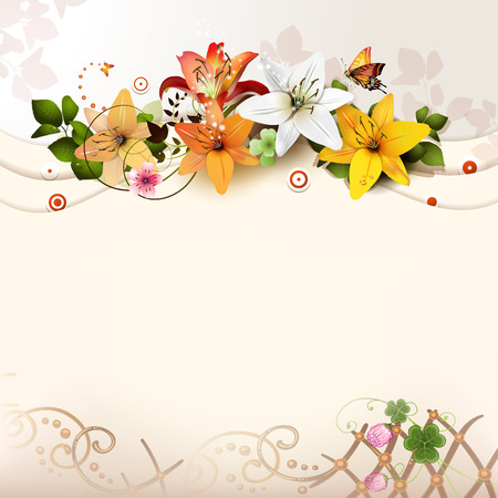 butterfly flower: Background with lilies