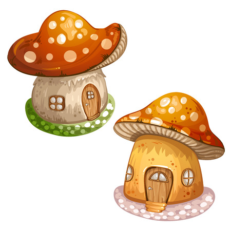 toy house: House for gnome made from mushroom Illustration