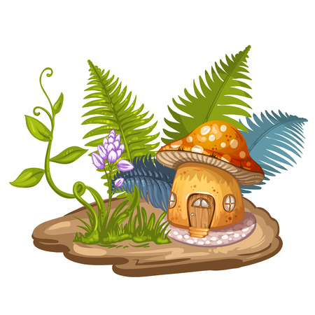 fairy story: House for gnome made from mushroom Illustration