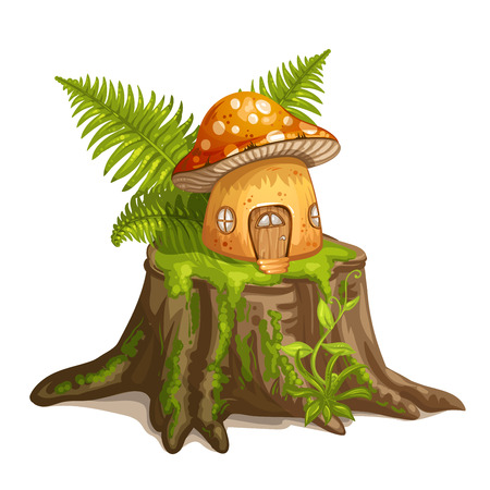 House for gnome made from mushroom Vector