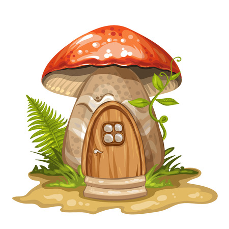 House for gnome made from mushroom Ilustracja