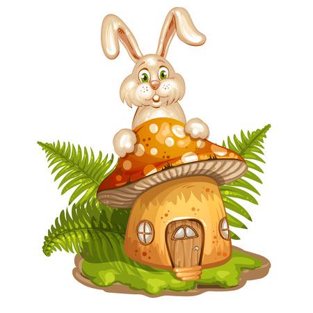 cartoon mushroom: House for gnome made from mushroom and rabbit