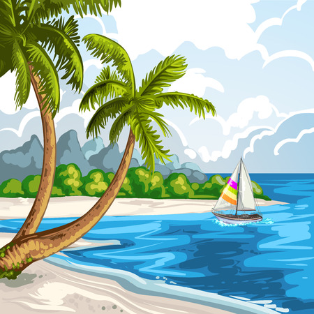 tranquil scene: Summer beach Illustration