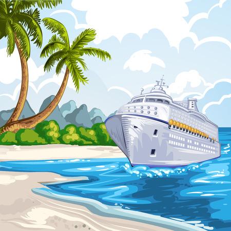 Cruise liner on the coastline