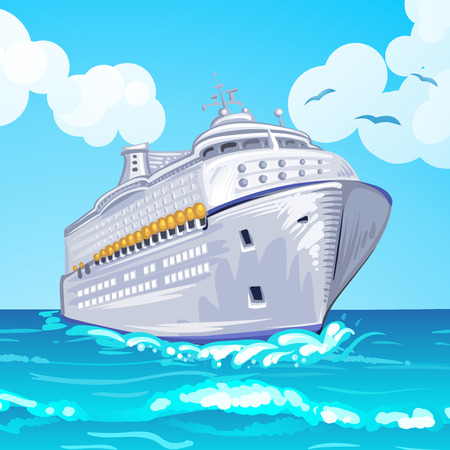 Cruise liner on the sea