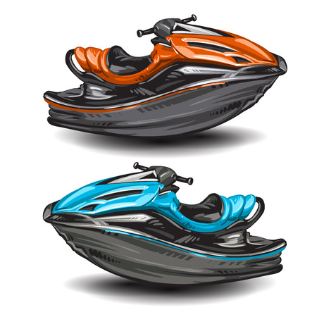 outboard: Jet boat scooter on white background Illustration