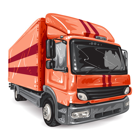 import trade: Red Truck on white background Illustration