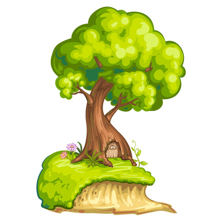 tree house: Illustration of a closeup tree with house for gnome