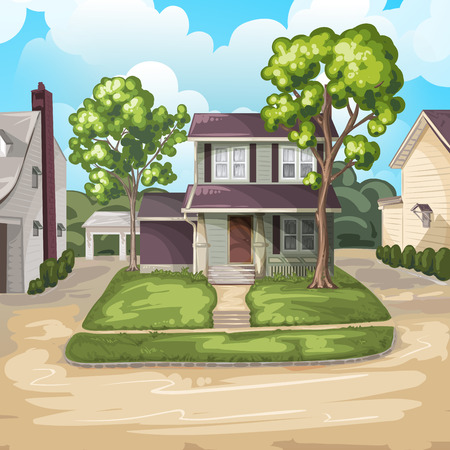 yards: Family House on Suburban Residential Estate Illustration