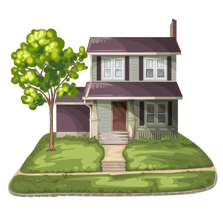 family outside house: Family House on Suburban Residential Estate Illustration