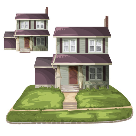 family outside house: Family House on Suburban Residential Estate Illustration
