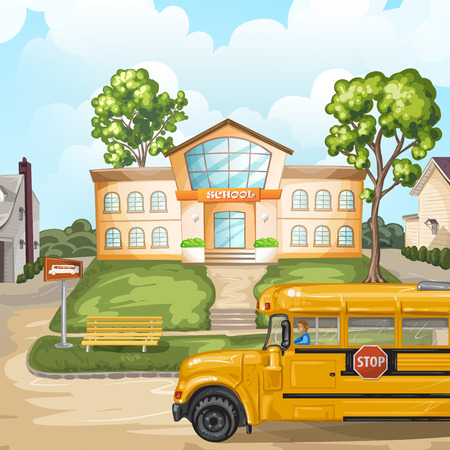 stop: School bus and school building