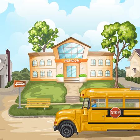 new school: School bus and school building