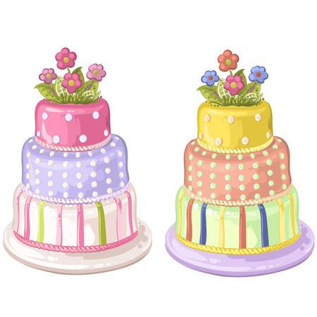 decorated: Decorated birthday cake Illustration