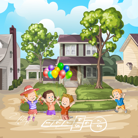 driveway: Children playing on the driveway in front of house Illustration