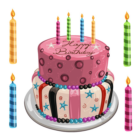 decorated cake: Decorated birthday cake Illustration