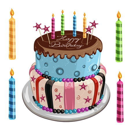 birthday candle: Decorated birthday cake Illustration