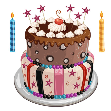 Decorated birthday cake, colorful candles and candy stars